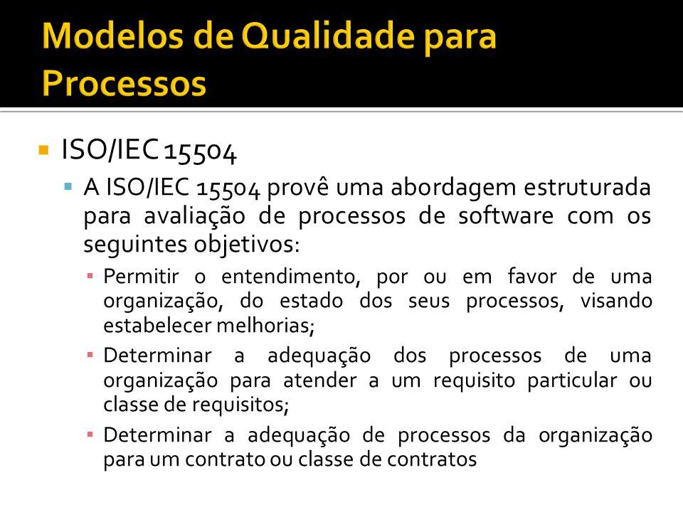 ISO/IEC 15504 A ISO/IEC 15504 provê uma abordagem estruturada para avaliação de processos de software com os seguintes objetivos: Permitir o entendimento, por ou em favor de uma organização, do estado dos seus processos, visando estabelecer melhorias; Determinar a adequação dos processos de uma organização para atender a um requisito particular ou classe de requisitos; Determinar a adequação de processos da organização para um contrato ou classe de contratos