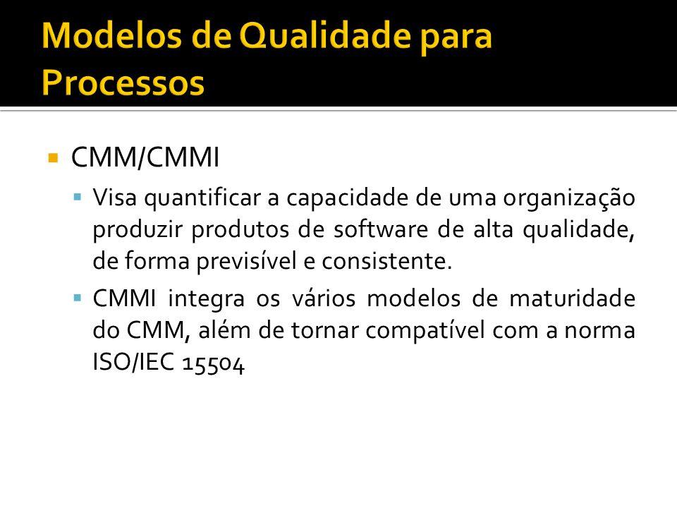 CMM/CMMI Visa quantificar a capacidade de uma organização produzir produtos de software de alta qualidade, de forma previsível e consistente.