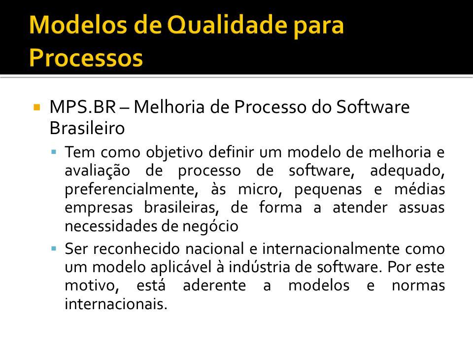 MPS.BR – Melhoria de Processo do Software Brasileiro Tem como objetivo definir um modelo de melhoria e avaliação de processo de software, adequado, preferencialmente, às micro, pequenas e médias empresas brasileiras, de forma a atender assuas necessidades de negócio Ser reconhecido nacional e internacionalmente como um modelo aplicável à indústria de software.