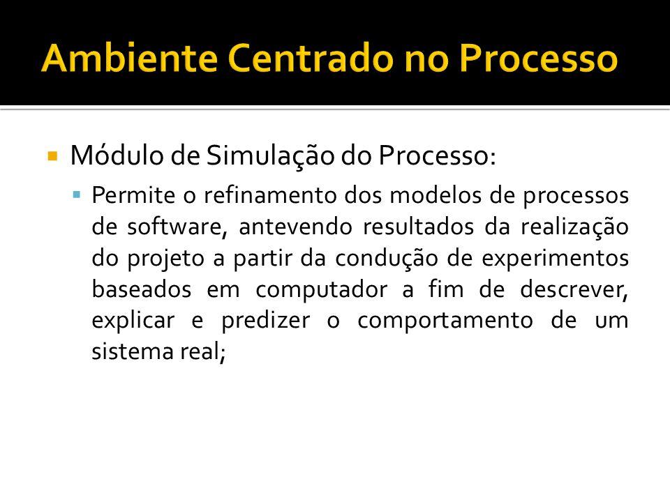 Módulo de Simulação do Processo: Permite o refinamento dos modelos de processos de software, antevendo resultados da realização do projeto a partir da condução de experimentos baseados em computador a fim de descrever, explicar e predizer o comportamento de um sistema real;