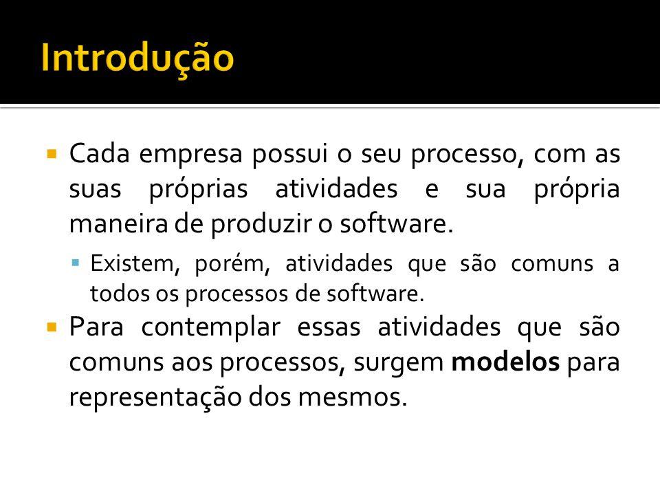 Cada empresa possui o seu processo, com as suas próprias atividades e sua própria maneira de produzir o software.