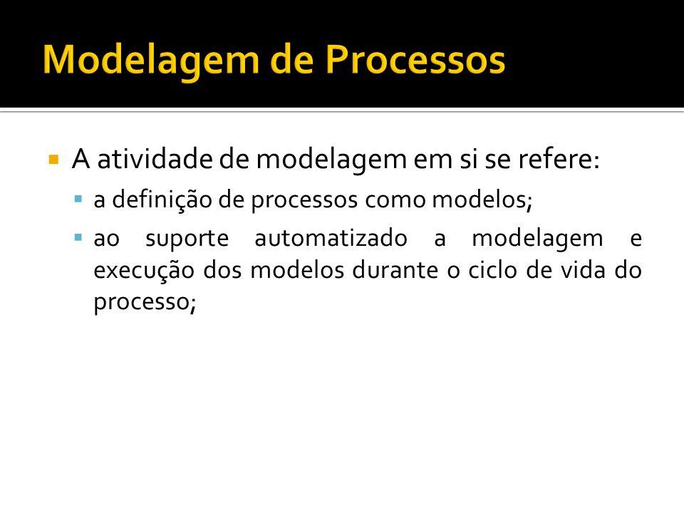 A atividade de modelagem em si se refere: a definição de processos como modelos; ao suporte automatizado a modelagem e execução dos modelos durante o ciclo de vida do processo;