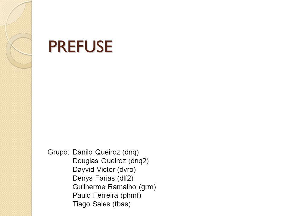 PREFUSE Grupo: Danilo Queiroz (dnq) Douglas Queiroz (dnq2) Dayvid Victor (dvro) Denys Farias (dlf2) Guilherme Ramalho (grm) Paulo Ferreira (phmf) Tiag