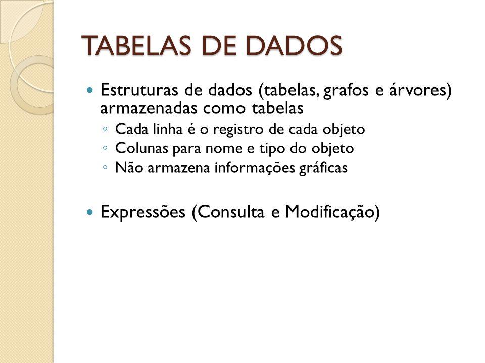 TABELAS DE DADOS Estruturas de dados (tabelas, grafos e árvores) armazenadas como tabelas Cada linha é o registro de cada objeto Colunas para nome e tipo do objeto Não armazena informações gráficas Expressões (Consulta e Modificação)