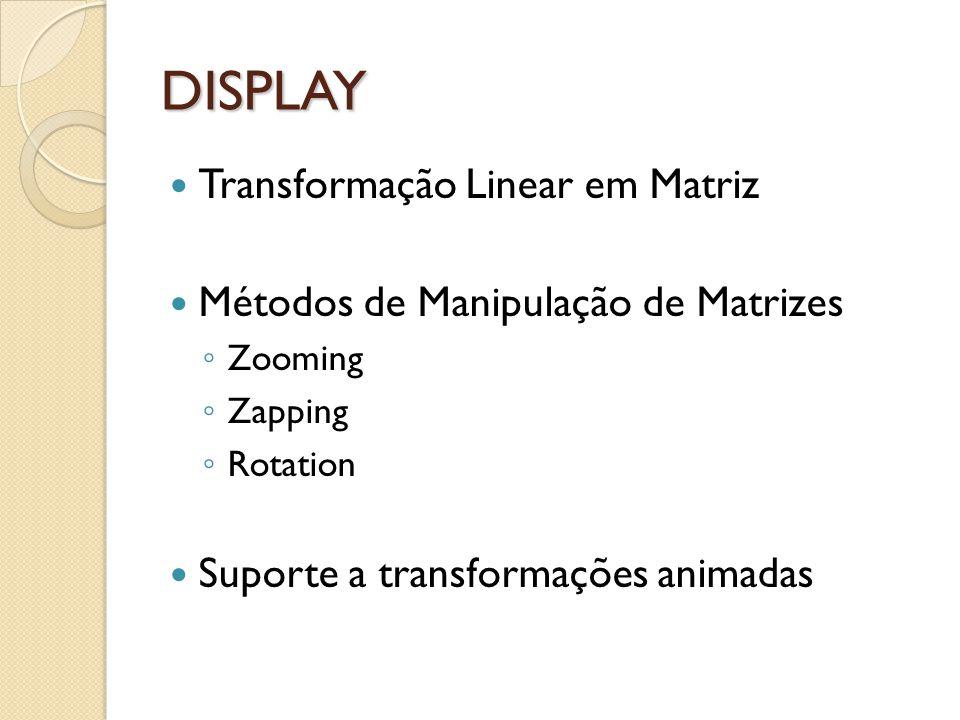 DISPLAY Transformação Linear em Matriz Métodos de Manipulação de Matrizes Zooming Zapping Rotation Suporte a transformações animadas