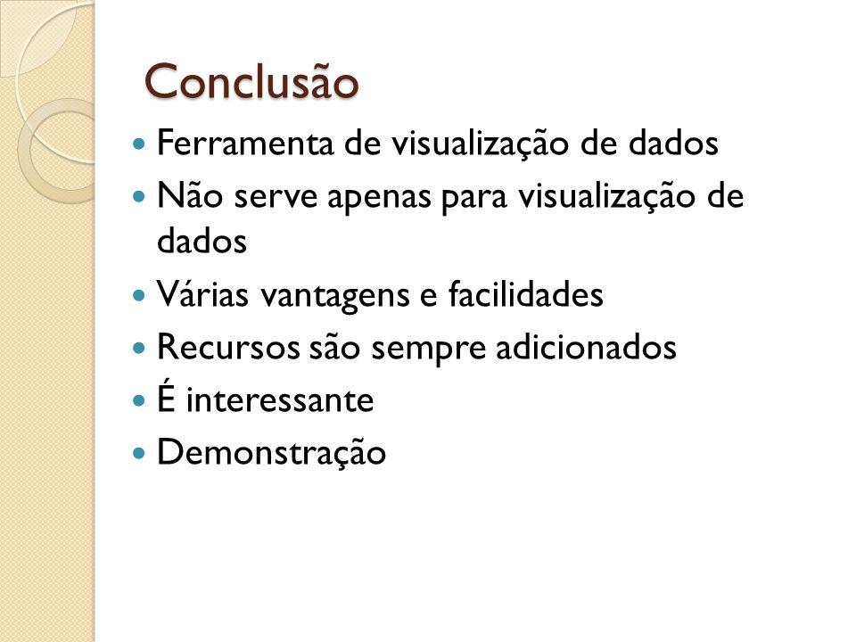 Conclusão Ferramenta de visualização de dados Não serve apenas para visualização de dados Várias vantagens e facilidades Recursos são sempre adicionad