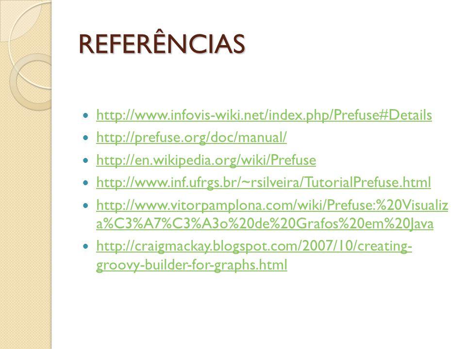 REFERÊNCIAS http://www.infovis-wiki.net/index.php/Prefuse#Details http://prefuse.org/doc/manual/ http://en.wikipedia.org/wiki/Prefuse http://www.inf.ufrgs.br/~rsilveira/TutorialPrefuse.html http://www.vitorpamplona.com/wiki/Prefuse:%20Visualiz a%C3%A7%C3%A3o%20de%20Grafos%20em%20Java http://www.vitorpamplona.com/wiki/Prefuse:%20Visualiz a%C3%A7%C3%A3o%20de%20Grafos%20em%20Java http://craigmackay.blogspot.com/2007/10/creating- groovy-builder-for-graphs.html http://craigmackay.blogspot.com/2007/10/creating- groovy-builder-for-graphs.html
