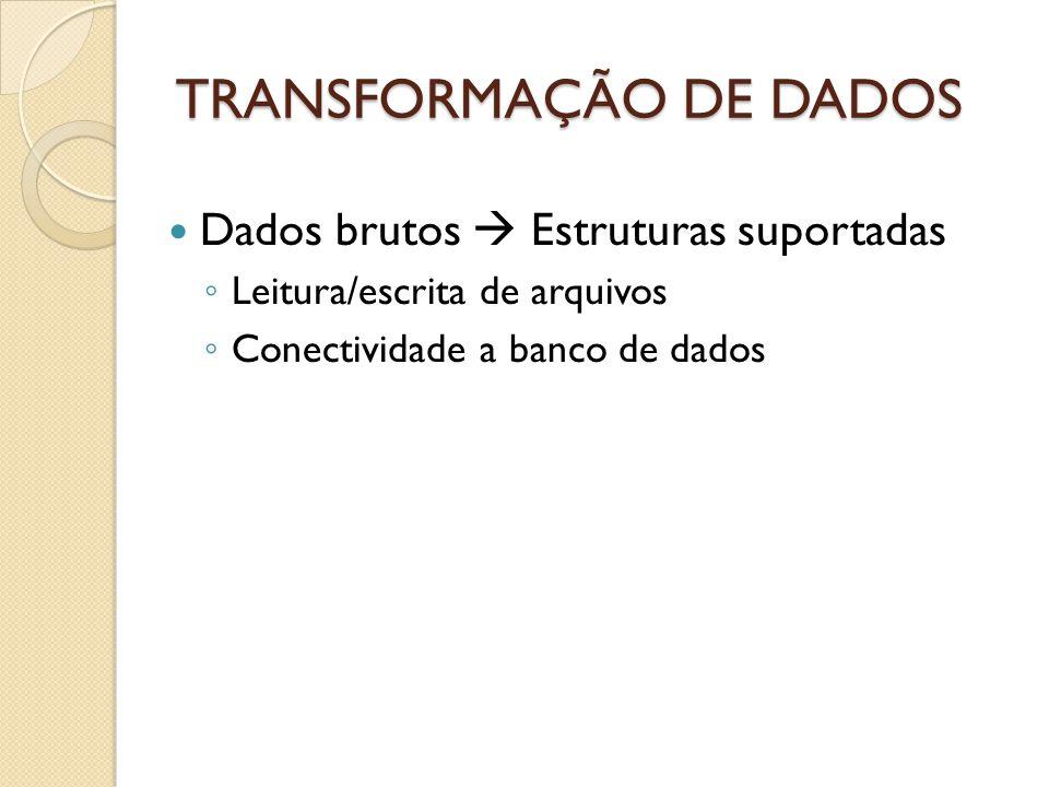 TRANSFORMAÇÃO DE DADOS Dados brutos Estruturas suportadas Leitura/escrita de arquivos Conectividade a banco de dados