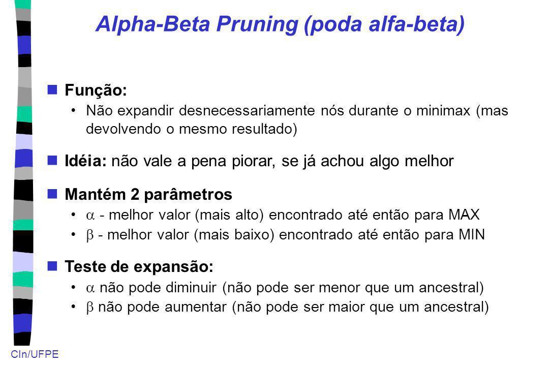 CIn/UFPE Alpha-Beta Pruning (poda alfa-beta) Função: Não expandir desnecessariamente nós durante o minimax (mas devolvendo o mesmo resultado) Idéia: n
