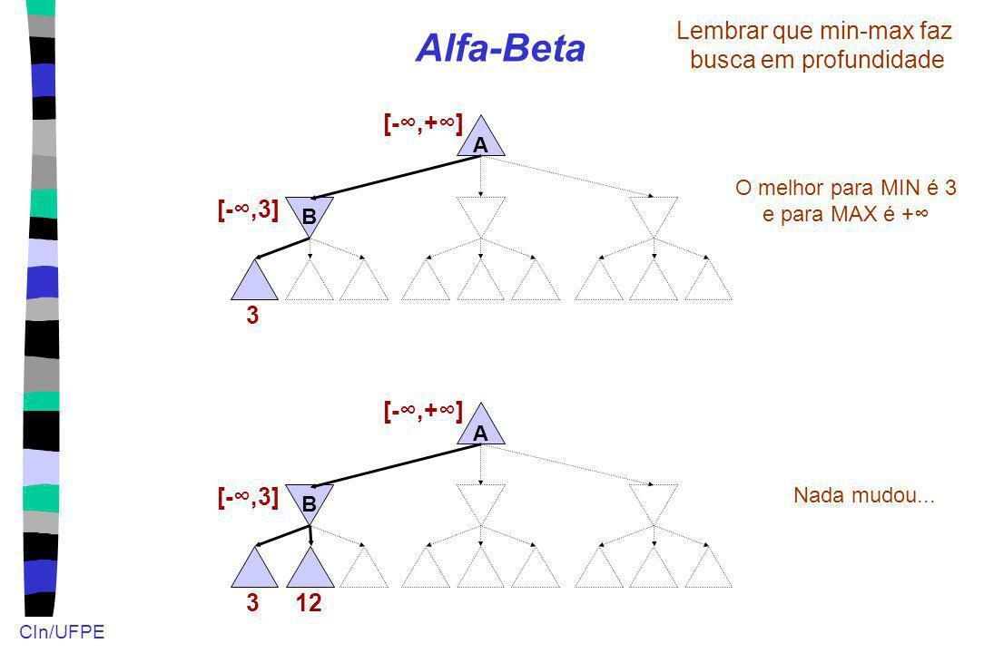 CIn/UFPE Alfa-Beta A B 3 Lembrar que min-max faz busca em profundidade [-,3] [-,+] O melhor para MIN é 3 e para MAX é + 12 A B 3 [-,3] [-,+] Nada mudo