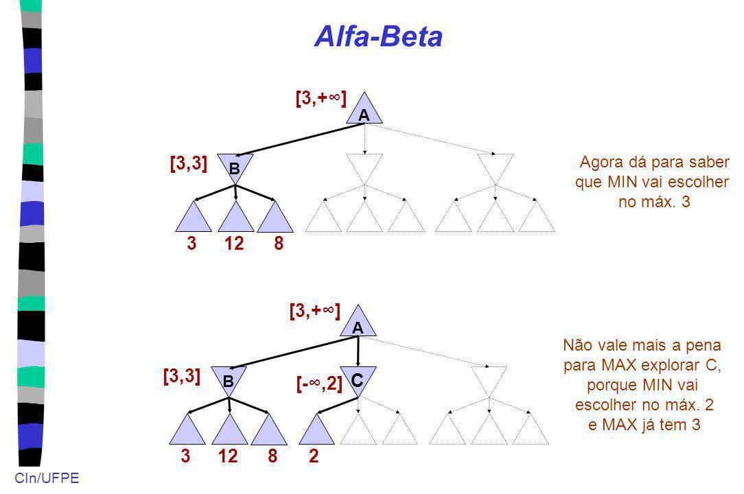 CIn/UFPE Alfa-Beta 12 A B 3 [3,3] [3,+] Agora dá para saber que MIN vai escolher no máx. 3 8 12 A B 3 [3,3] [3,+] 8 2 [-,2] C Não vale mais a pena par