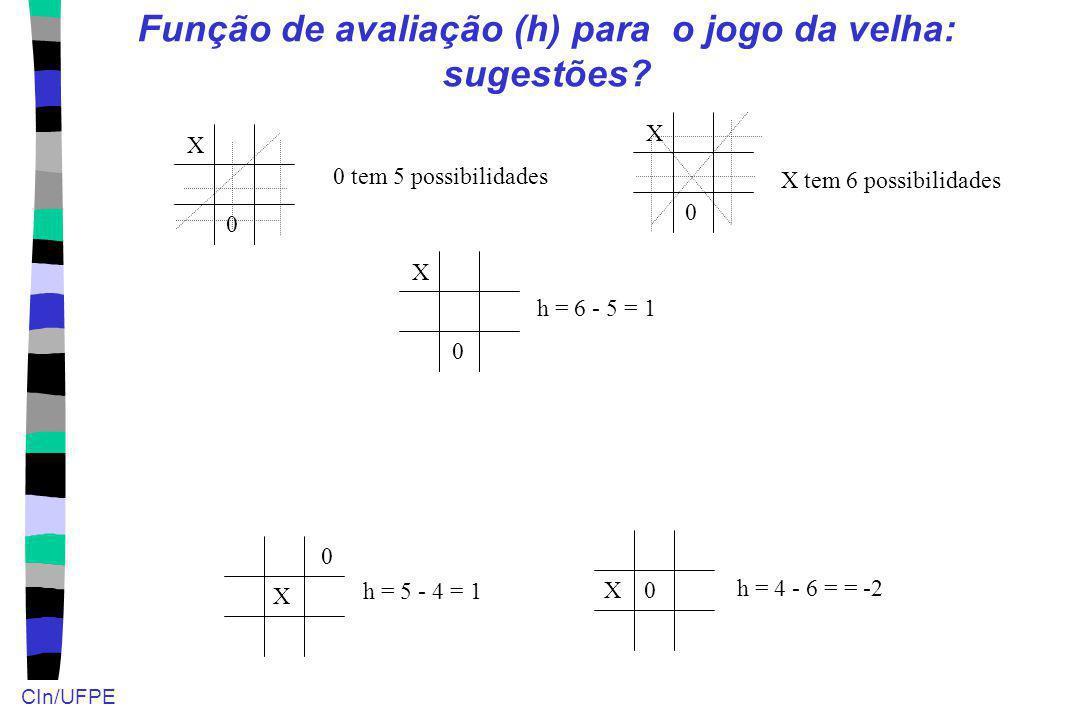 CIn/UFPE Função de avaliação (h) para o jogo da velha: sugestões? X 0 X0 X 0 X 0 X 0 X tem 6 possibilidades 0 tem 5 possibilidades h = 6 - 5 = 1 h = 4