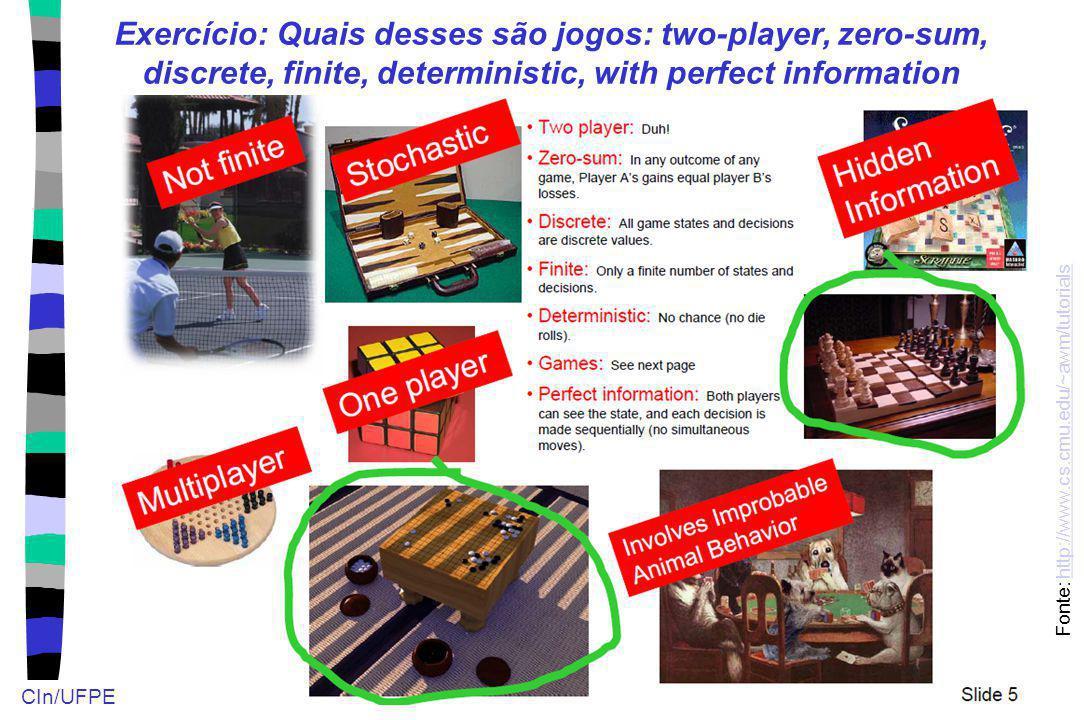 CIn/UFPE Exercício: Quais desses são jogos: two-player, zero-sum, discrete, finite, deterministic, with perfect information Fonte: http://www.cs.cmu.e
