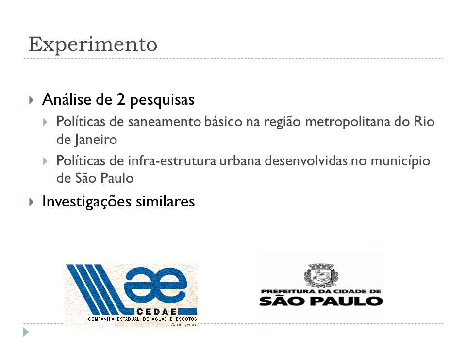 Experimento Análise de 2 pesquisas Políticas de saneamento básico na região metropolitana do Rio de Janeiro Políticas de infra-estrutura urbana desenvolvidas no município de São Paulo Investigações similares
