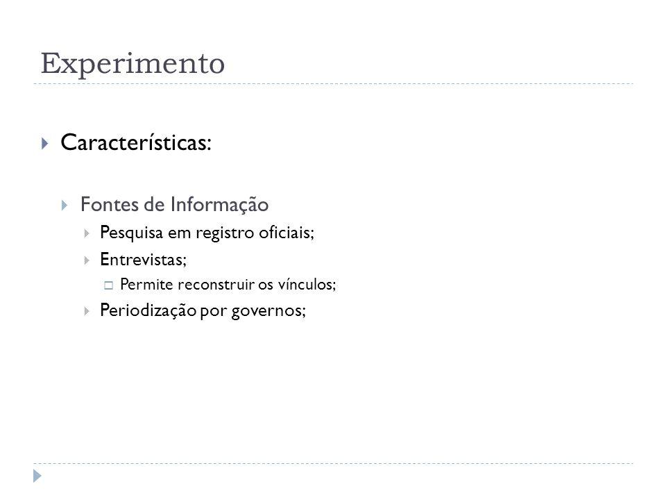 Experimento Características: Fontes de Informação Pesquisa em registro oficiais; Entrevistas; Permite reconstruir os vínculos; Periodização por governos;