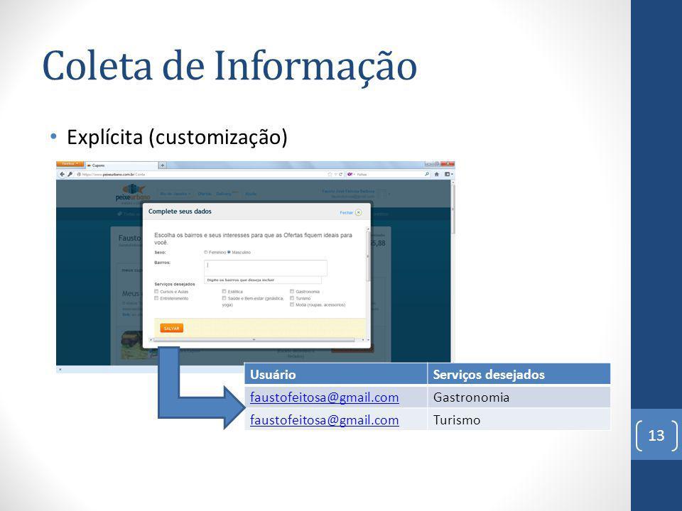 Coleta de Informação Explícita (customização) 13 UsuárioServiços desejados faustofeitosa@gmail.comGastronomia faustofeitosa@gmail.comTurismo