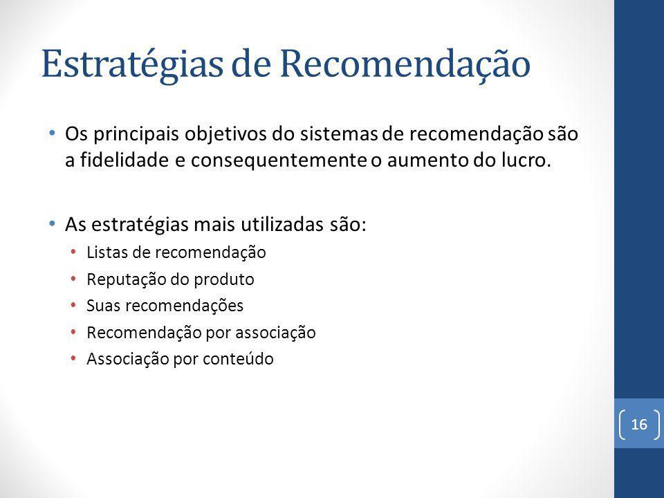 Estratégias de Recomendação Os principais objetivos do sistemas de recomendação são a fidelidade e consequentemente o aumento do lucro.