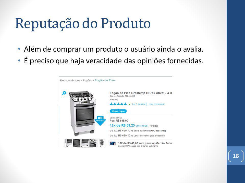 Reputação do Produto Além de comprar um produto o usuário ainda o avalia.
