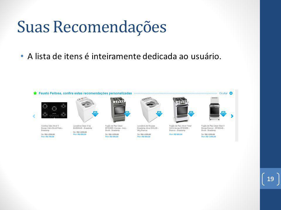 Suas Recomendações A lista de itens é inteiramente dedicada ao usuário. 19