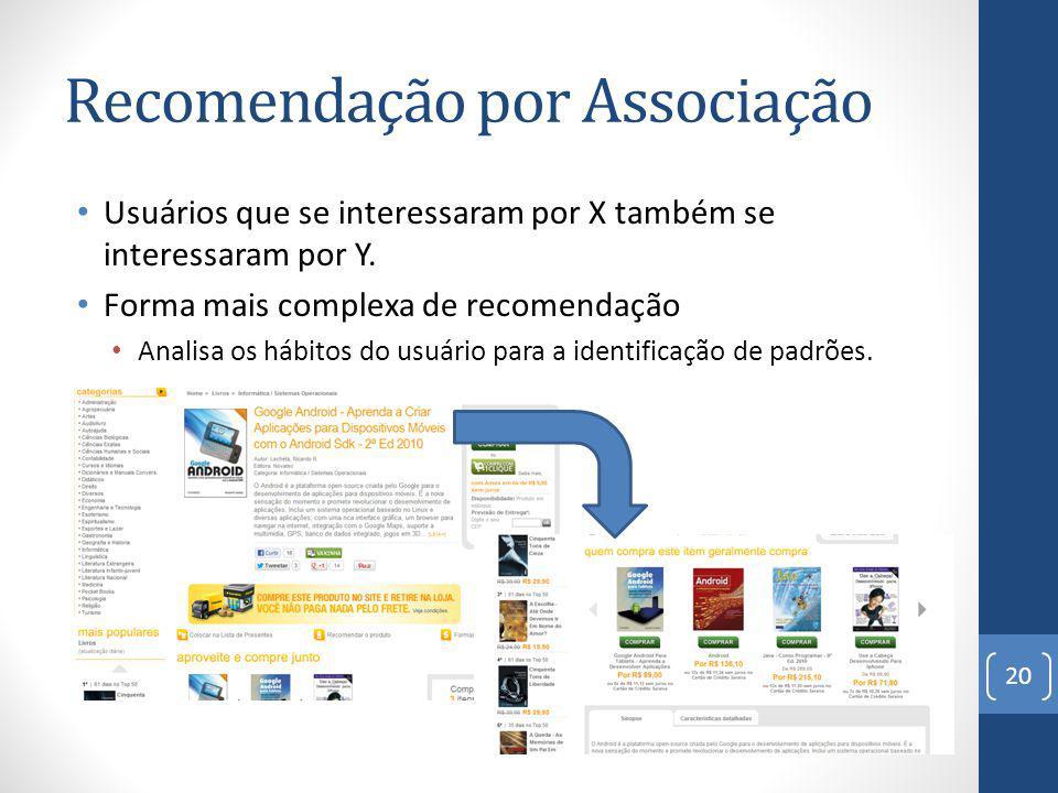 Recomendação por Associação Usuários que se interessaram por X também se interessaram por Y.