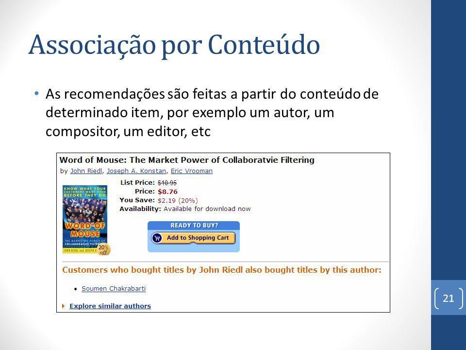 Associação por Conteúdo As recomendações são feitas a partir do conteúdo de determinado item, por exemplo um autor, um compositor, um editor, etc 21