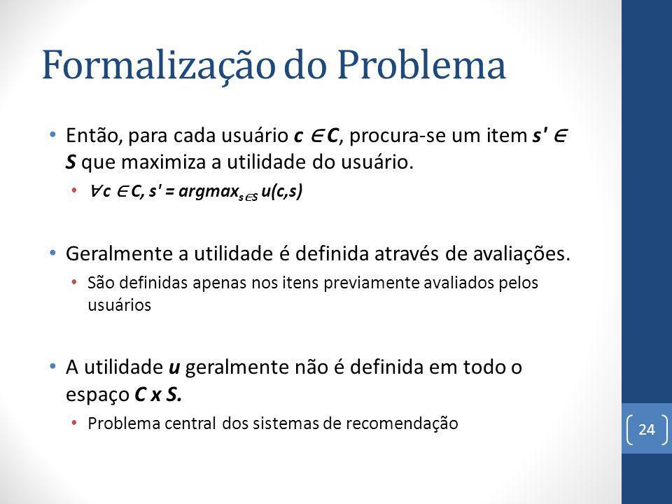 Formalização do Problema Então, para cada usuário c C, procura-se um item s S que maximiza a utilidade do usuário.