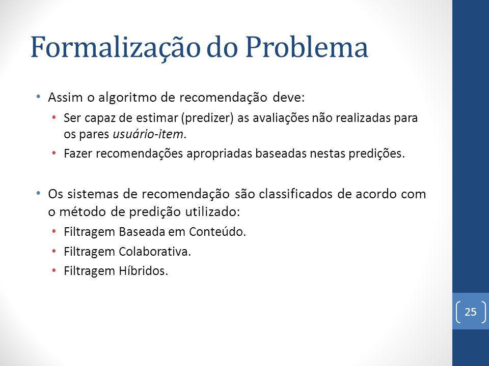 Formalização do Problema Assim o algoritmo de recomendação deve: Ser capaz de estimar (predizer) as avaliações não realizadas para os pares usuário-item.