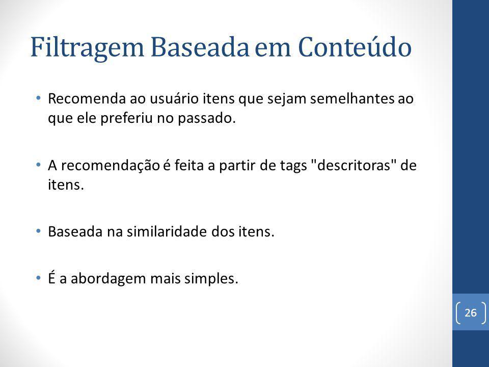 Filtragem Baseada em Conteúdo Recomenda ao usuário itens que sejam semelhantes ao que ele preferiu no passado.