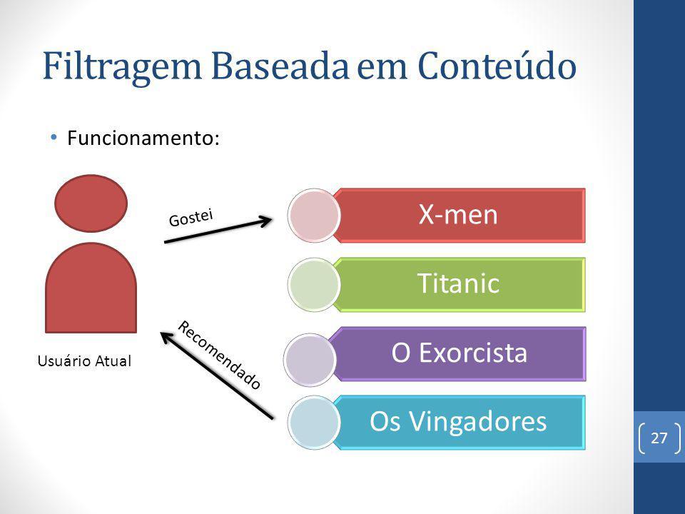 Filtragem Baseada em Conteúdo Funcionamento: 27 X-men Titanic O Exorcista Os Vingadores Gostei Recomendado Usuário Atual