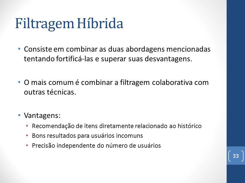 Filtragem Híbrida Consiste em combinar as duas abordagens mencionadas tentando fortificá-las e superar suas desvantagens.