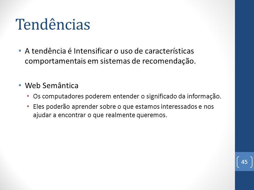 Tendências A tendência é Intensificar o uso de características comportamentais em sistemas de recomendação.