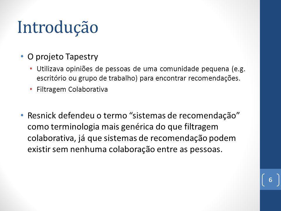 Introdução O projeto Tapestry Utilizava opiniões de pessoas de uma comunidade pequena (e.g.