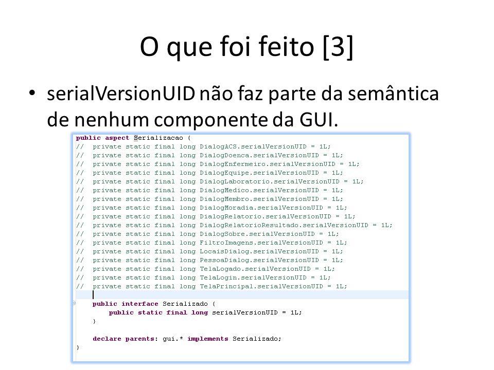 O que foi feito [3] serialVersionUID não faz parte da semântica de nenhum componente da GUI.
