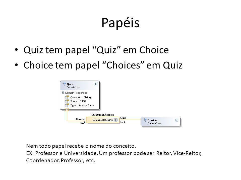 Papéis Quiz tem papel Quiz em Choice Choice tem papel Choices em Quiz Nem todo papel recebe o nome do conceito.