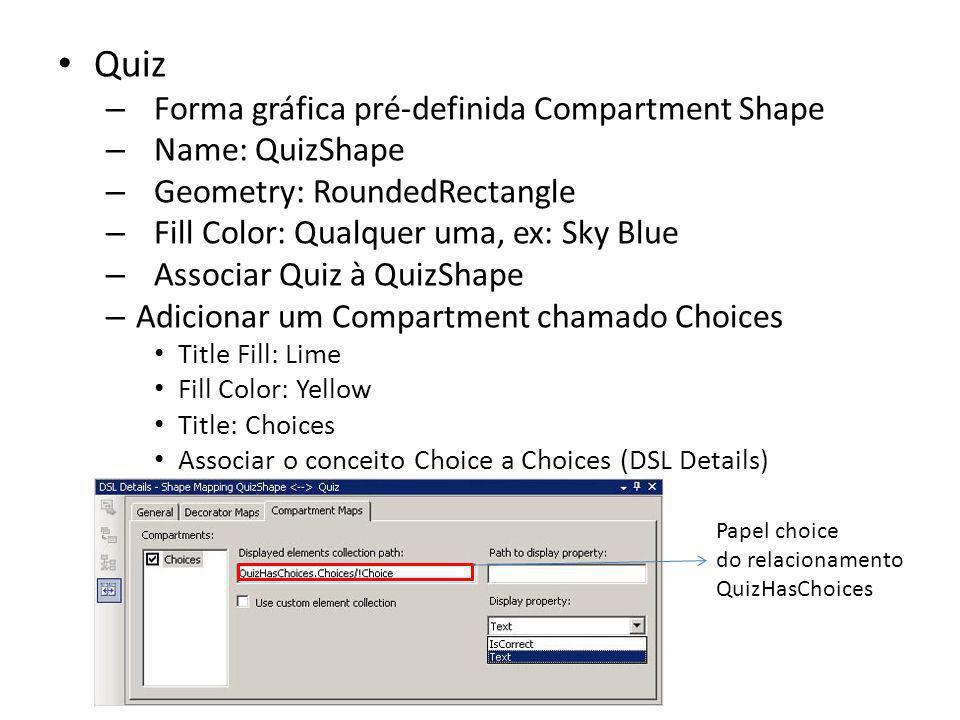 Quiz – Forma gráfica pré-definida Compartment Shape – Name: QuizShape – Geometry: RoundedRectangle – Fill Color: Qualquer uma, ex: Sky Blue – Associar
