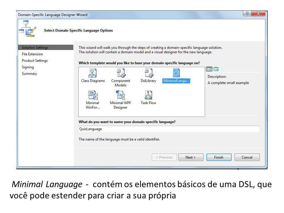 Minimal Language - contém os elementos básicos de uma DSL, que você pode estender para criar a sua própria