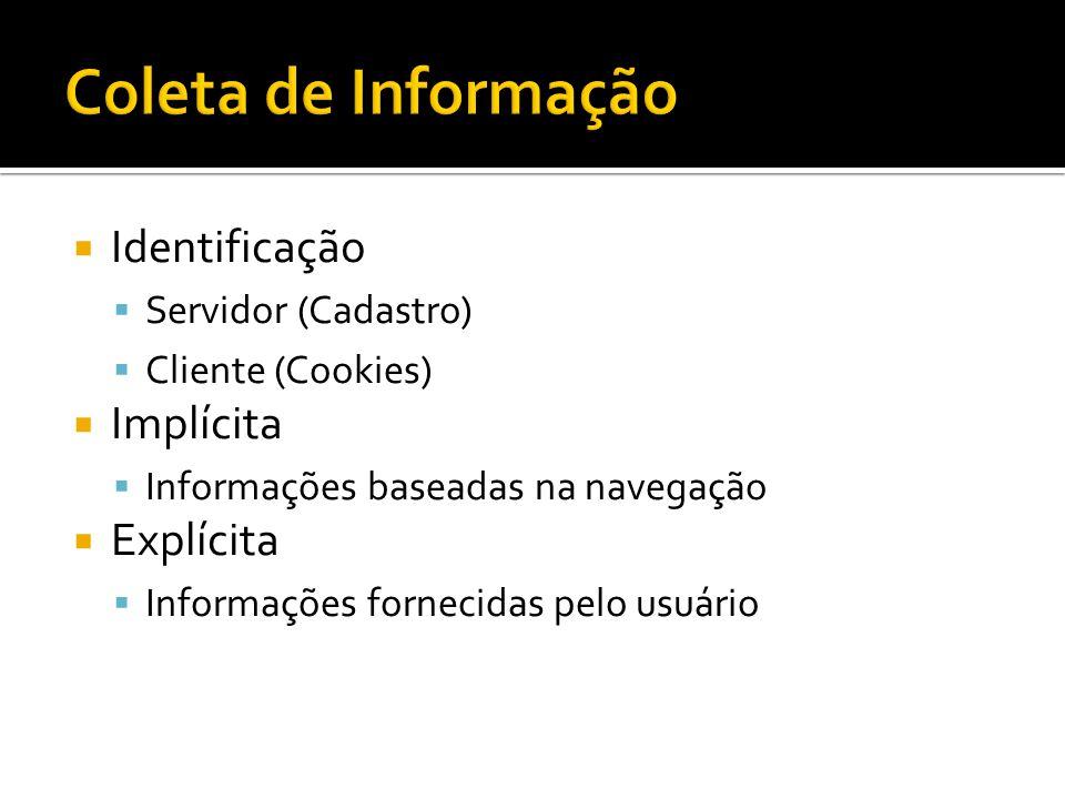 Identificação Servidor (Cadastro) Cliente (Cookies) Implícita Informações baseadas na navegação Explícita Informações fornecidas pelo usuário