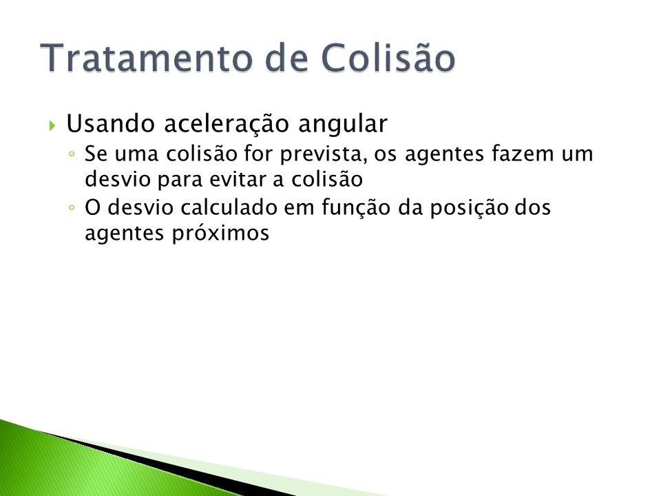 Usando aceleração angular Se uma colisão for prevista, os agentes fazem um desvio para evitar a colisão O desvio calculado em função da posição dos ag