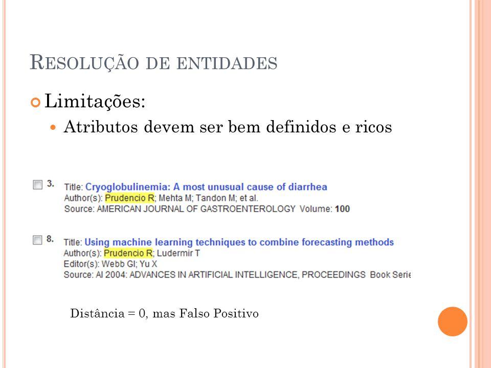R ESOLUÇÃO DE ENTIDADES Limitações: Atributos devem ser bem definidos e ricos Distância = 0, mas Falso Positivo