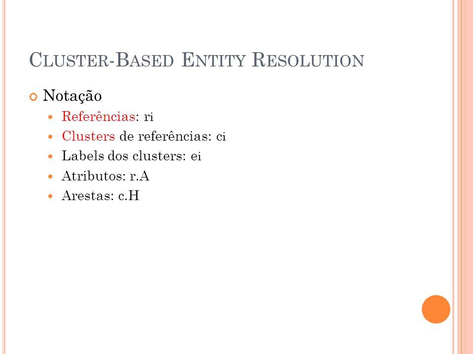 C LUSTER -B ASED E NTITY R ESOLUTION Notação Referências: r i Clusters de referências: c i Labels dos clusters: e i Atributos: r.A Arestas: c.H