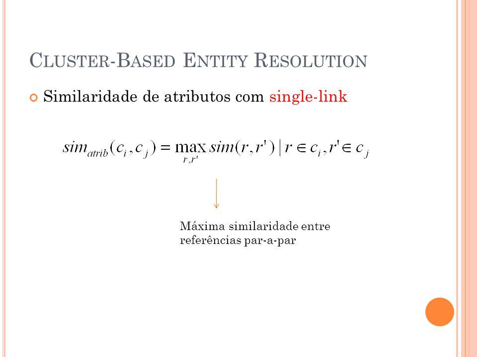 C LUSTER -B ASED E NTITY R ESOLUTION Similaridade de atributos com single-link Máxima similaridade entre referências par-a-par