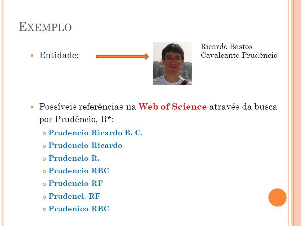 R ESOLUÇÃO DE ENTIDADES Baseada em Atributos Similaridade entre os atributos das referências Exemplo: String Similarity Levenshtein Distance Prudencio RBC Prudenico RBC Distância = 1