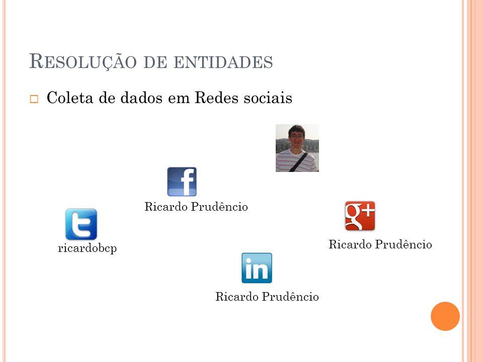 R ESOLUÇÃO DE ENTIDADES Coleta de dados em Redes sociais ricardobcp Ricardo Prudêncio