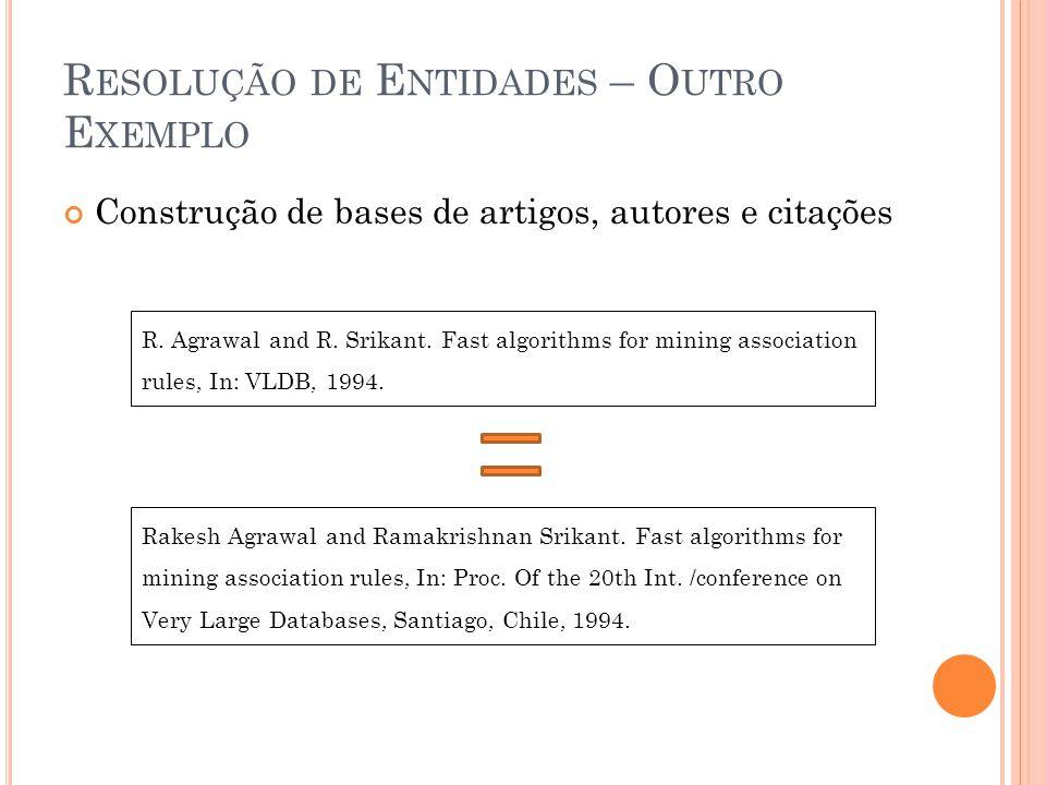 R ESOLUÇÃO DE E NTIDADES – O UTRO E XEMPLO Construção de bases de artigos, autores e citações R.