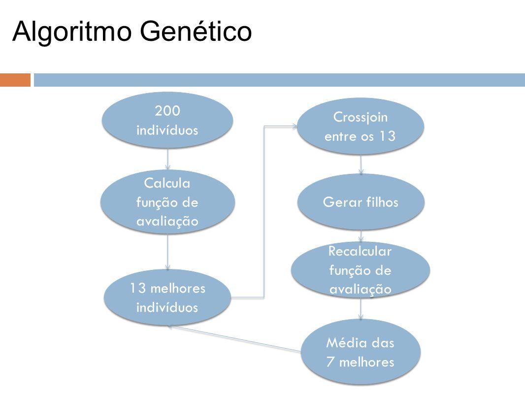 Algoritmo Genético 200 indivíduos Calcula função de avaliação 13 melhores indivíduos Gerar filhos Recalcular função de avaliação Média das 7 melhores