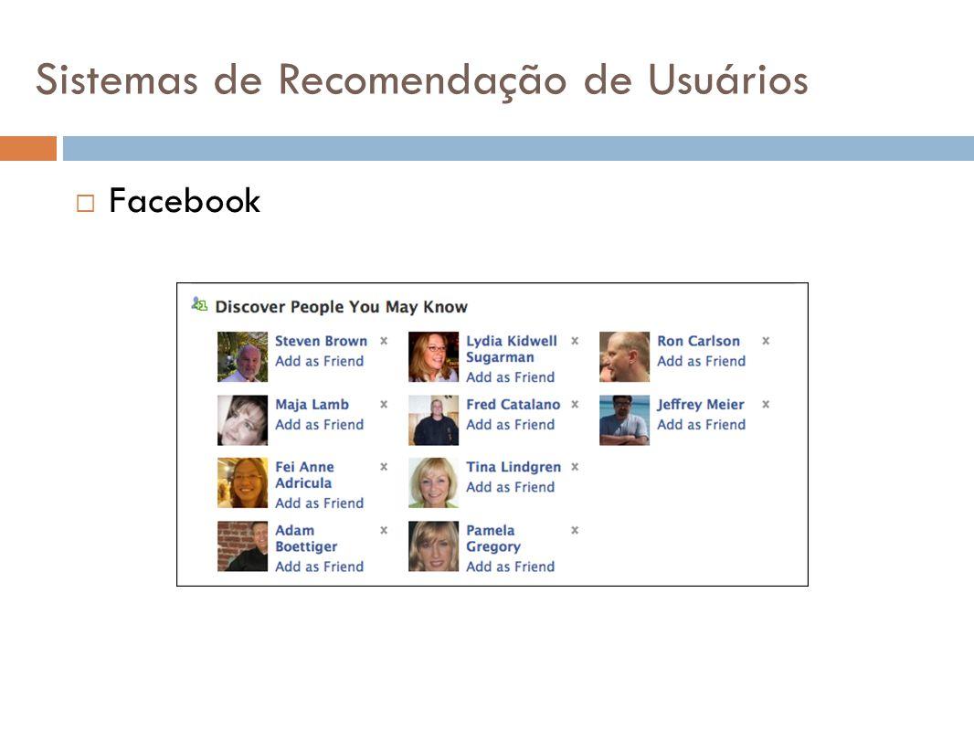 Diferente dos outros sistemas de recomendação: Relação de amizade bi-direcional Apresentação da lista de amigos no perfil Sistemas de Recomendação de Usuários