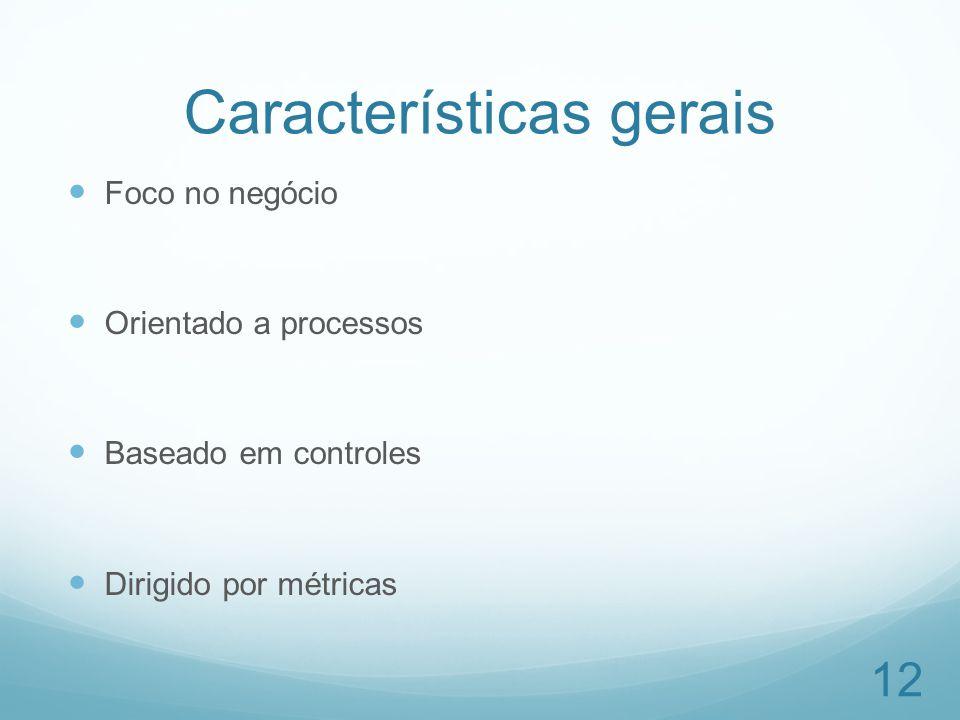Características gerais Foco no negócio Orientado a processos Baseado em controles Dirigido por métricas 12