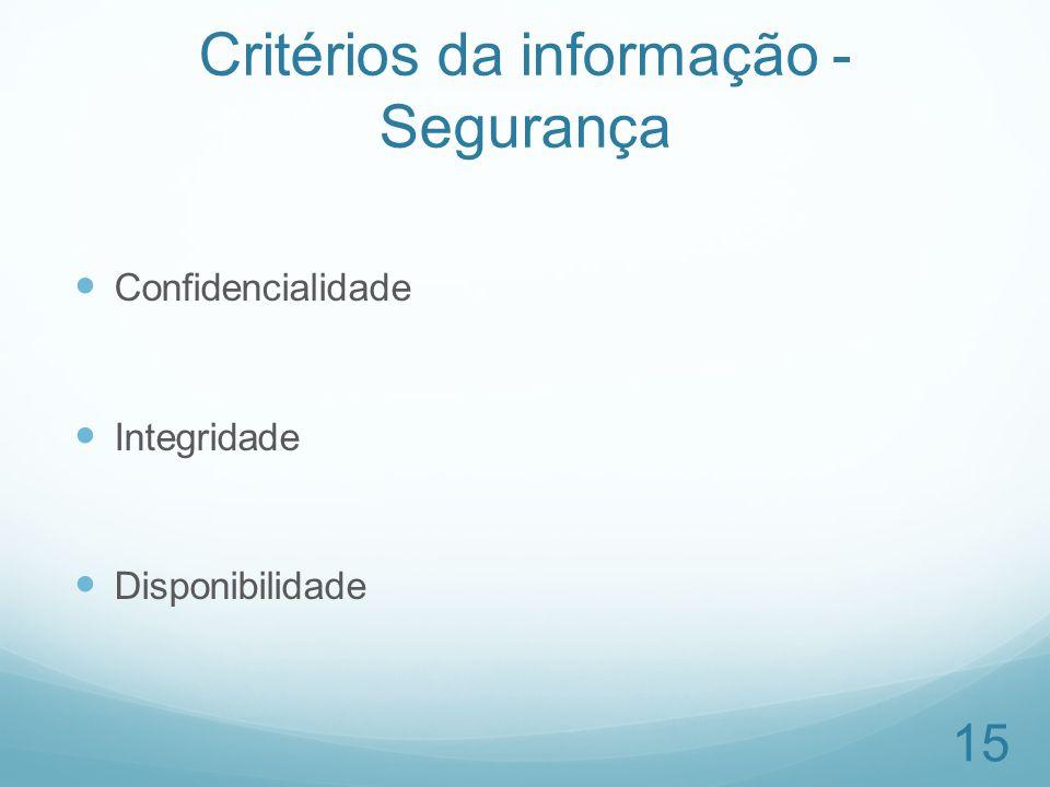 Critérios da informação - Segurança Confidencialidade Integridade Disponibilidade 15