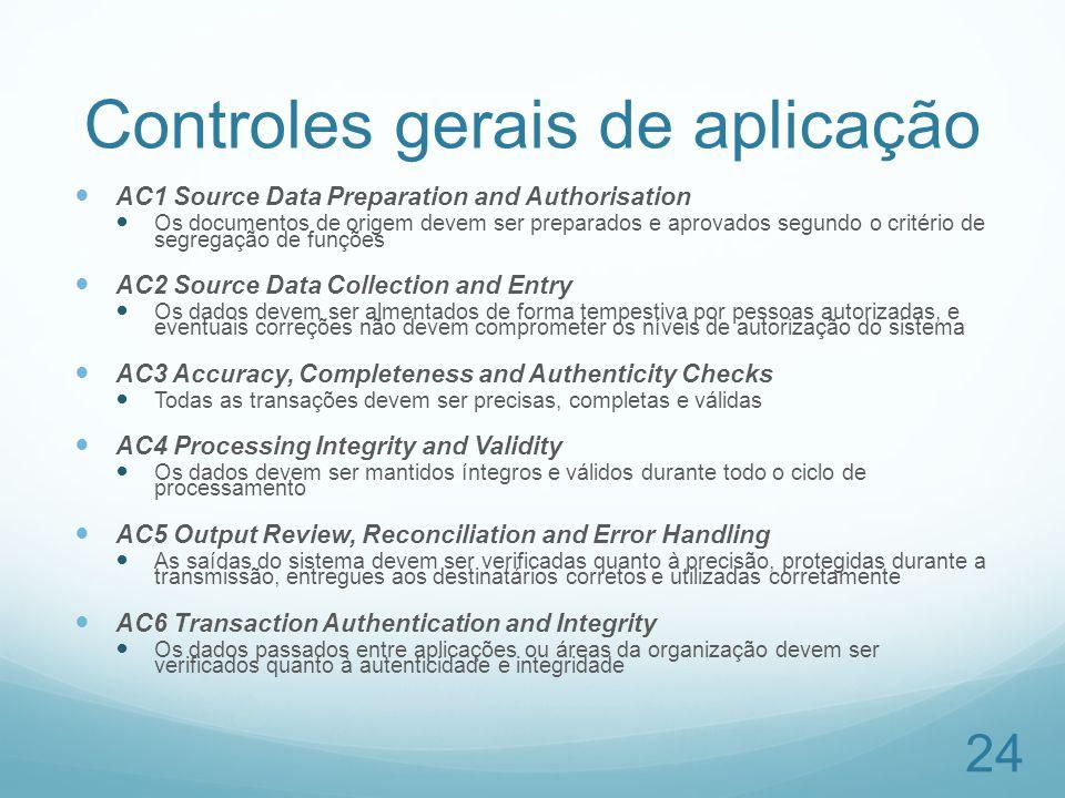 Controles gerais de aplicação AC1 Source Data Preparation and Authorisation Os documentos de origem devem ser preparados e aprovados segundo o critéri
