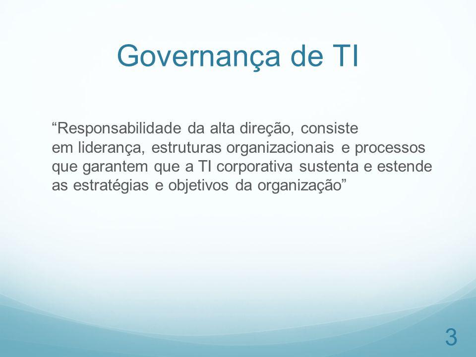 Governança de TI Responsabilidade da alta direção, consiste em liderança, estruturas organizacionais e processos que garantem que a TI corporativa sus